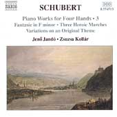 Schubert: Piano Works for Four Hands Vol 3 / Jandó, Kollar