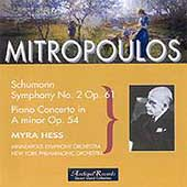 Schumann: Symphony no 2, Piano Concerto / Mitropoulos, Hess