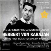 The Berlin PO for the first time after W.W.II in the U.S.A. -Mozart: Symphony no 35; Strauss: Till Eulenspiegel; Brahms: Symphony no 1 / Herbert von Karajan