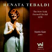 Renata Tebaldi - The New York Farewell Recital / Martin Katz