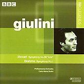 Mozart: Symphony no 36;  Brahms: Symphony no 1 / Giulini