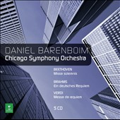 Beethoven: Missa solemnis; Verdi: Requiem; Brahms: German Requiem / Barenboim & the Chicago SO [5 CDs]