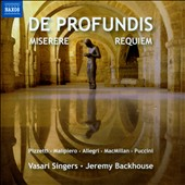 De Profundis, Miserere, Requiem by Pizzetti, Malipiero, Allegri, James MacMillan, Puccini / Vasari Singers, Backhouse