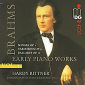 SCENE  Brahms: Early Piano Works Vol 1 / Hardy Rittner