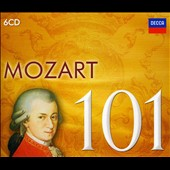 Mozart 101 - Various works / Ashkenazy, Schiff, Takácks Quartet, Uchida, Levine, Marriner, Solti, Vienna Philharmonic, Academy of St. Martin in the Fields, Philharmonic Orchestra and many more [6 CDs]