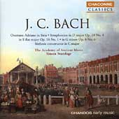 Classics - J.C. Bach: Symphonies, etc / Standage, AAM