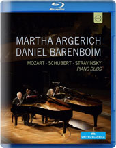 Piano Duos - Mozart: Sonata for 2 Pianos, K.448; Schubert: Variations on an Original Theme, D.813; Stravinsky: The Rite of Spring / Martha Argerich, Daniel Barenboim, pianos (live, 2014) [Blu-ray]