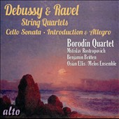 Debussy: String Quartet; Cello Sonata; Ravel: String Quartet; Introduction & Allegro / Mstislav Rostropovich, cello; Benjamin Britten, piano; Melos Ens.