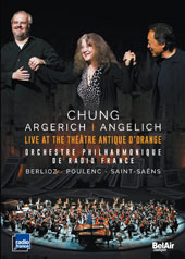Berlioz: Roman Carnival, overture; Poulenc: Concerto for 2 Pianos; Saint-Seans: Symphony No. 3 'Organ', et al. 'Live at the Théatre Antique d'Orange' / Nicholas Angelich, Martha Argerich, pianos [DVD]