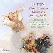 Britten: Piano Concerto Op 13, Diversions Op 21, Young Apollos Op 16 / Osborne, Volkov, BBC Scottish SO