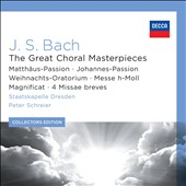 J.S. Bach: The Great Choral Masterpieces: St. Matthew & St. John Passions; B Minor Mass; Magnificat; 4 Missae breves; Christmas Oratorio / Peter Schreier [12 CDs]