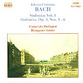 J. C. Bach: Sinfonias Vol 1 / Gm&uuml;r, Camerata Budapest