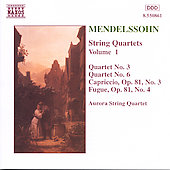 Mendelssohn: String Quartets Vol. 1