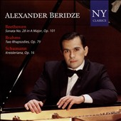Beethoven: Sonata No. 28 in A major, Op. 101; Brahms: Two Rhapsodies, Op. 79; Schumann: Kreisleriana, Op. 16