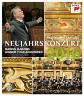 New Year's Concert 2016 - works by Zieher, Stolz, J. Strauss, Jr., E. Strauss; Waldteufel / Cello Ensemble Mozart; Clarinotts; Vienna PO, Jansons [Blu-ray]