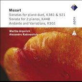 Mozart: Sonatas for Piano Duet, K 381 & 521; Sonata for 2 Pianos, K 448; Andante and Variations, K 501 / Martha Argerich & Alexandre Rabinovitch, pianos