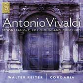 Vivaldi: 12 Sonatas for Violin and Continuo Op 2 / Cordaria