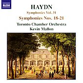 Haydn: Symphonies Vol 31 - no 18-21 / Mallon, Toronto CO