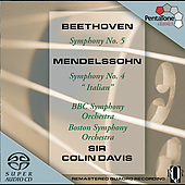 Beethoven: Symphony no 5; Mendelssohn: Symphony no 4 / Davis