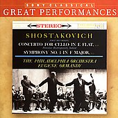 Shostakovich: Symphony no 1, Cello Concerto / Ormandy, et al